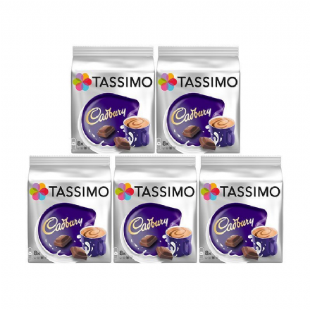 Tassimo Cadbury Hot Chocolate Pods 5 Packs of 8 Total of 40 Servings